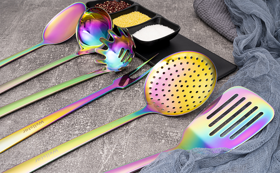 wellstar colorful rainbow cooking tools set 6 pieces