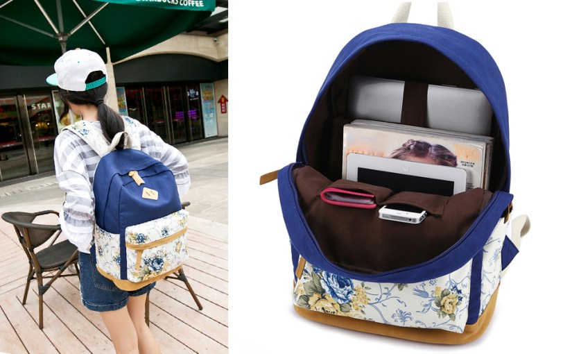 blue backpack for school cute bookbags for girls floral backpack for school
