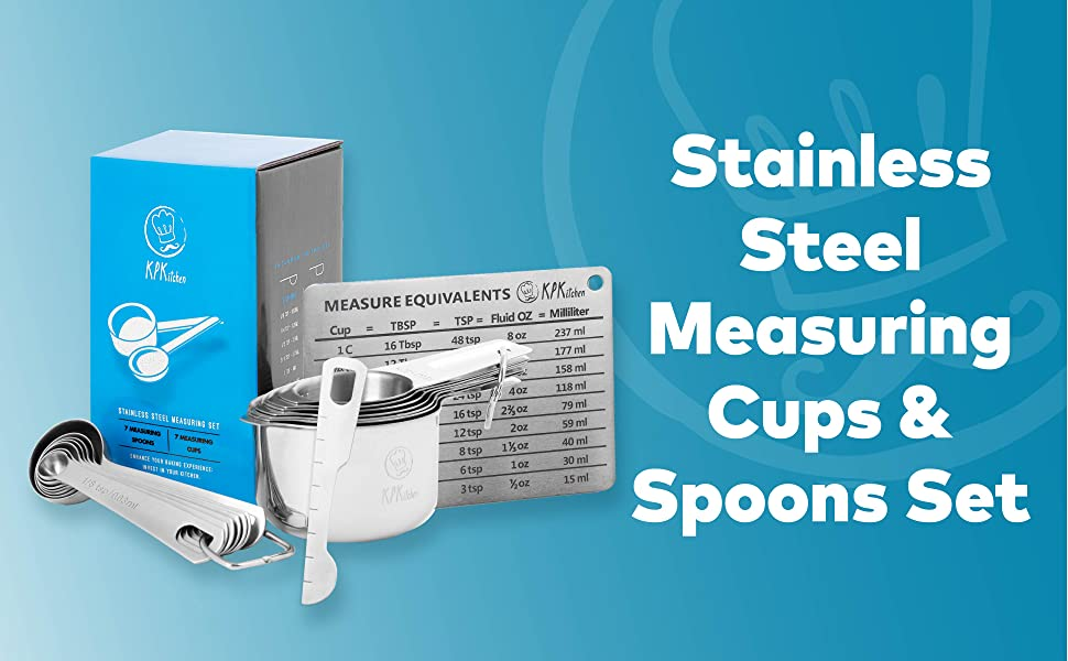 Stainless Steel Measuring Cups & Spoons Set with Conversion Chart and Leveler Spoon
