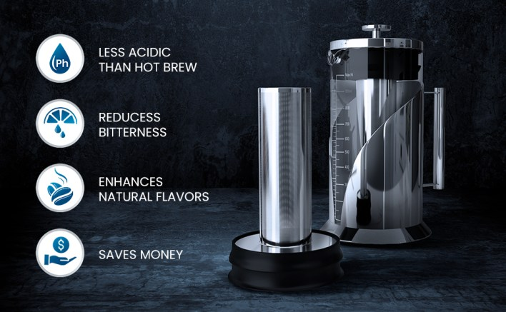Ice coffee maker with icons showing its many benefits