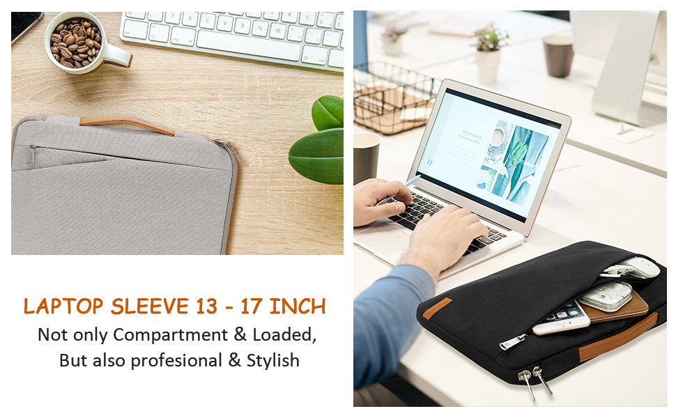 laptop sleeve case 17 17.3 15 15.6 13 13.3 inch for women men water resistant with handle
