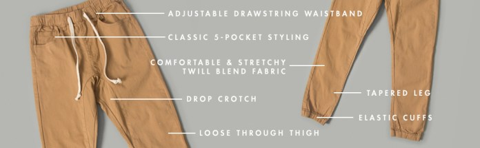 adjustable drawstring 5 pocket classic drop crotch tapered leg elastic cuffs twill fabric
