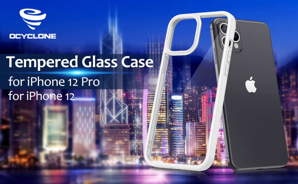 OCYCLONE Tempered Glass Case for 6.1 inch iPhone 12/ iPhone 12 Pro(2020 released)