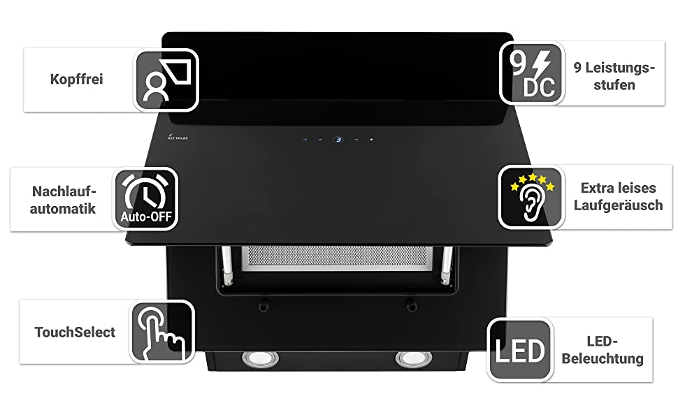 Dunstabzugshaube, Wandhaube, Kopffrei, Nachlaufautomatik, Touch, 9 Leistungsstufen, extra leise, LED