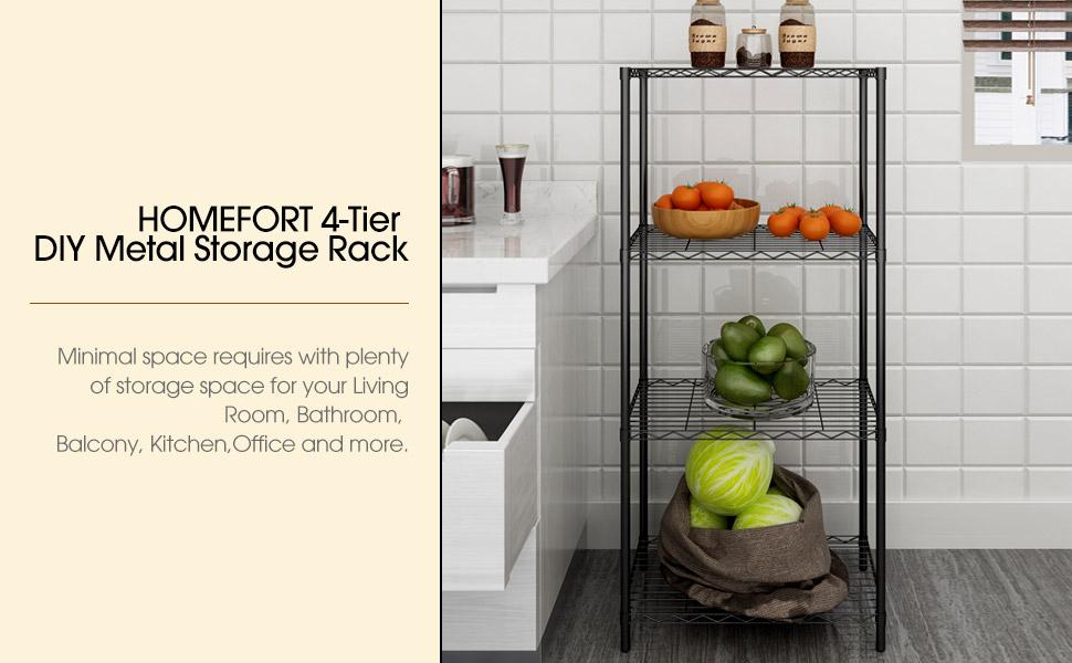 HOMEFORT 4-Tier Metal Shelf Storage Rack