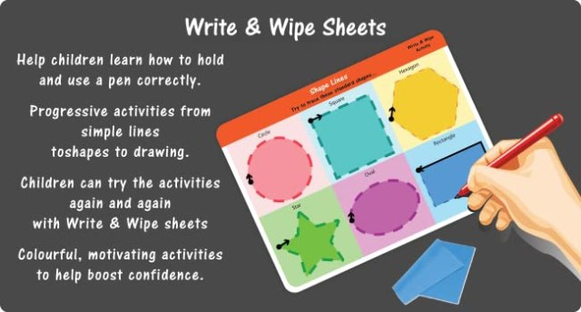 Write & Wipe Activity, Write-Wipe-Clean Learning Activity, Writing Activity for Kids,Pen Control