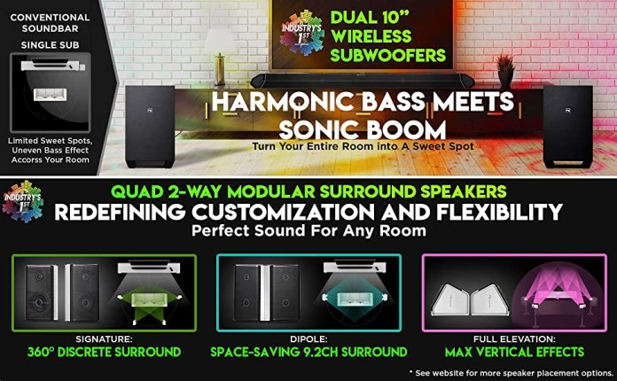 """Dual 10"""" Wireless Subwoofers and Quad Rear Surround Speakers"""