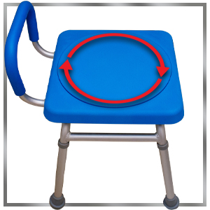 swiveling seat with graphic arrows depicting 360 degree seat rotation