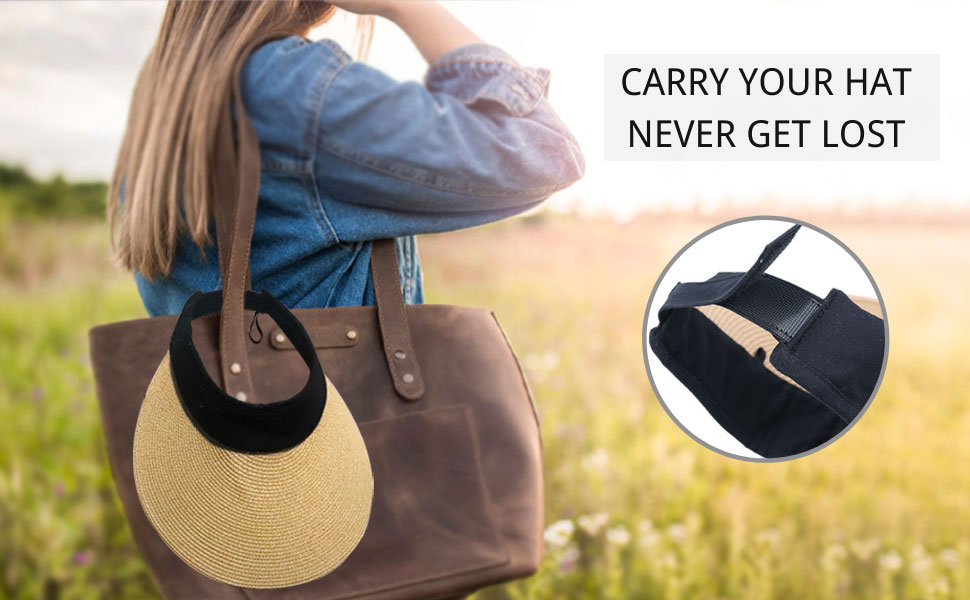 carry your hat never get lost, stylish packable sunvisor