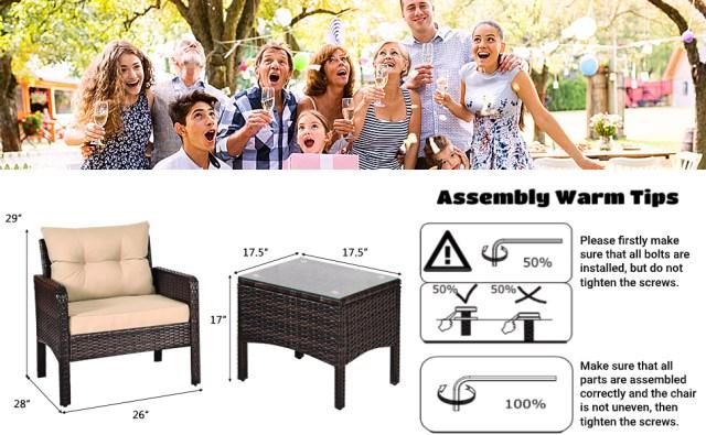 Patio Furniture Set 3 Pieces Conversation Set Rattan Wicker Sofa Set