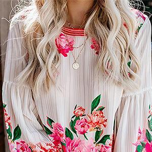 women long Balloon sleeve shirts floral blouses women casual tops women summer top casual shirts