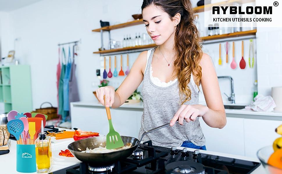 Aybloom 25 PCS Silicone Kitchen Cooking Utensil Set