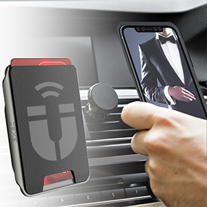 iPhone 11 Pro Max Wallet Case with Built-In Magnet for Magnetic Car Mount Vent Wireless Charging