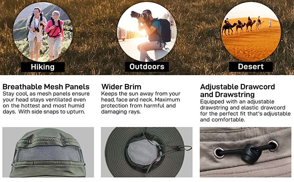 breathable mesh panels side snaps button wider brim adjustable drawcord drawstring outdoors