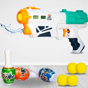 Multi-Function Two-in-one Gun Ball Bowling  Pins Soft Water Splash trigger Pull Back Double Fun Play