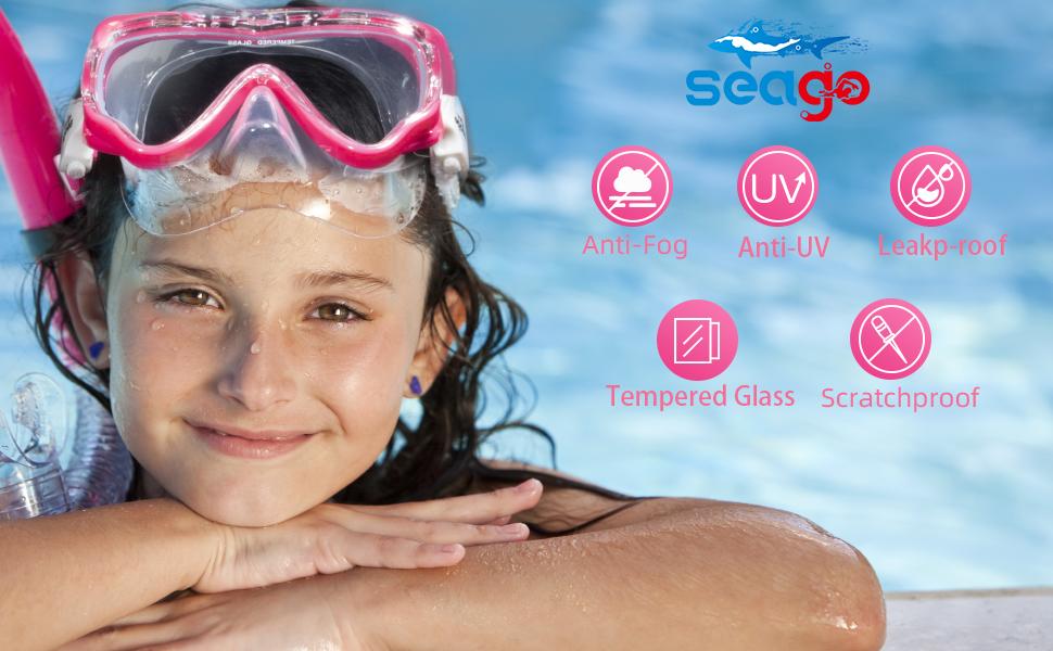 seago swimming  goggles for girls boys anti-fog Uv protection