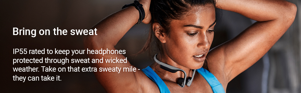 IP55 rated to keep your headphones protected through sweat and wicked weather.