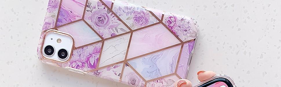 Beautful trendy bling glitter pink purple iPhone SE case