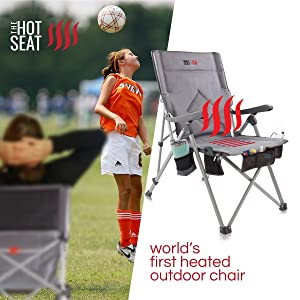 camping chair warm heated comfortable folding hot seat armrest heavy duty sturdy carry soccer mom