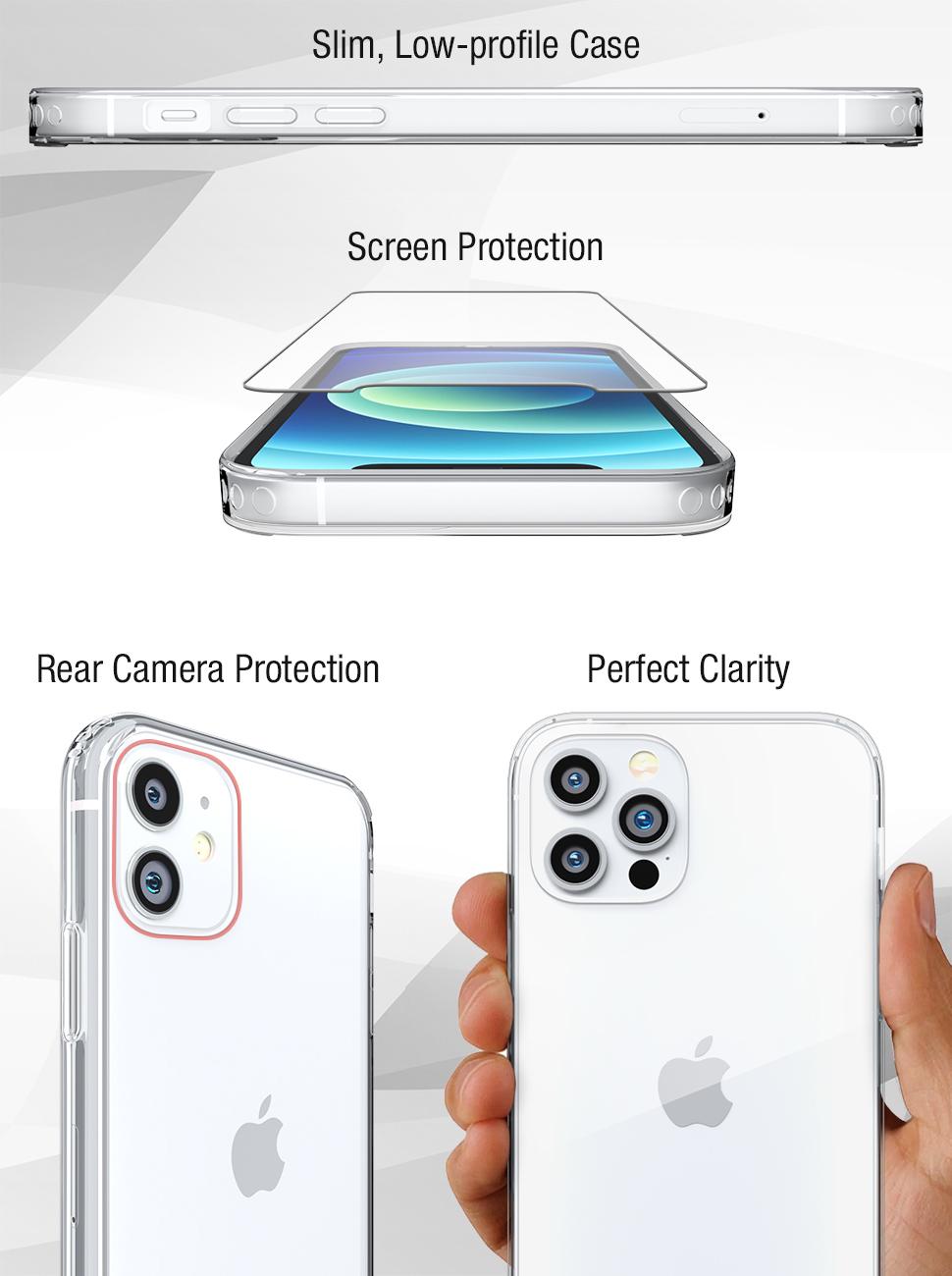 FlexGear iPhone 12 Clear Case Hard Back TPU Bumper + Glass Screen Protector, Tempered glass iPhone