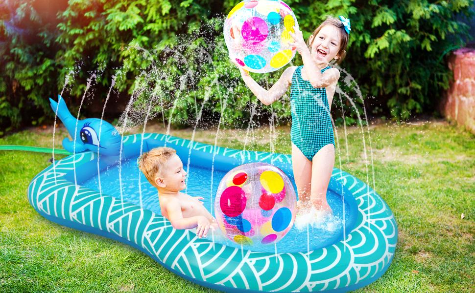 sprinkler splash pad for 2 year old boys kiddie pool toys for 1 year old inflatable splash baby pool