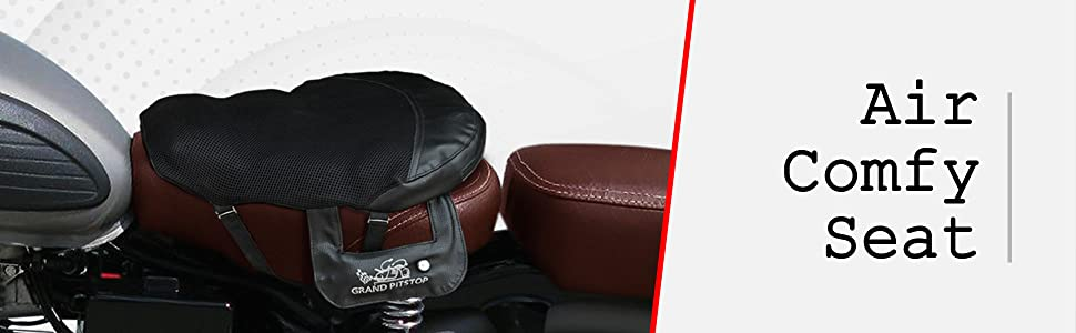 GrandPitstop Bike Air Cushion seat for Rider with in Built Air Pump
