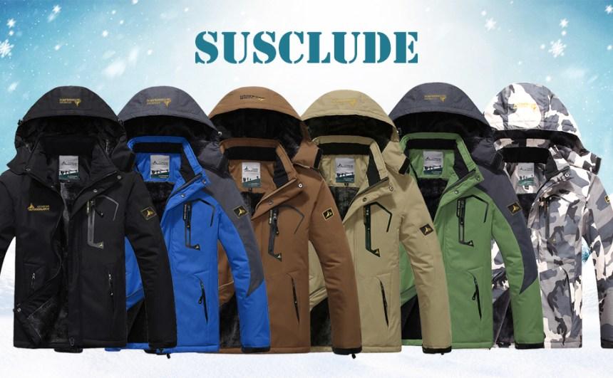 Men's Fleece Snowboarding Jacket Winter Windproof Mountain Jacket Waterproof Warm Hooded
