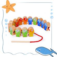 Gioco di Pesca Magnetico Giocattolo Impilabile in Legno
