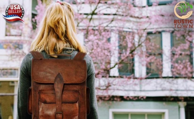 Genuine Leather Retro Rucksack Backpack College Bag School Picnic Bag Travel Large Vintage handmade