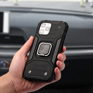 Shockproof Protective Phone Case Cover with Ring Holder Kickstand Compatible with Magnetic Car Mount