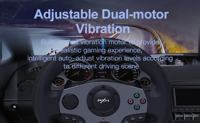 steering wheel with pedals and shifter