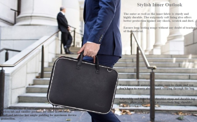Wearslim Cady Collection Durable Briefcase Carrying Case for 15.6 in Laptops & Notebooks
