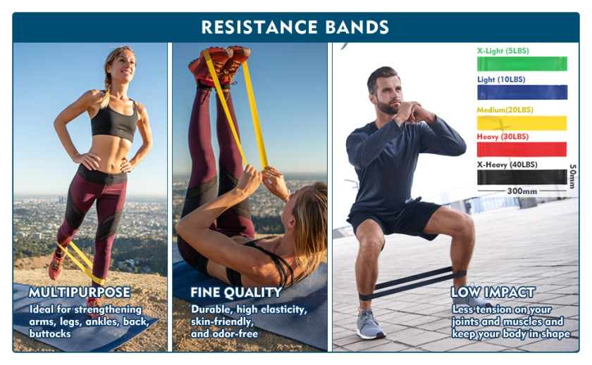 mini exercise workout resistance bands loops set for women men elastic bands stretch bands
