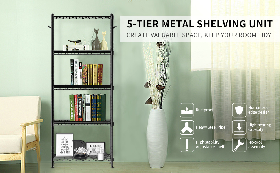 5 tier metal shelving unit