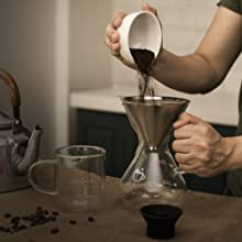 pour coffee grounds