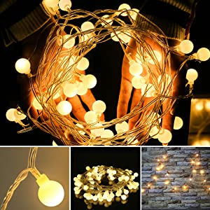 LED Globe String Lights for Bedroom Fairy Light 33ft 100 LED Plug in Window Curtain Wall