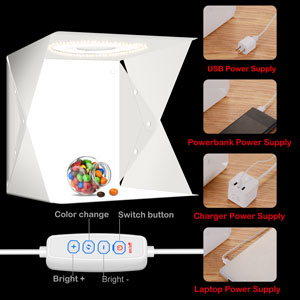 Scatola luminosa per foto 40*40 cm 6 fondali kit tenda da tiro per cabina fotografica