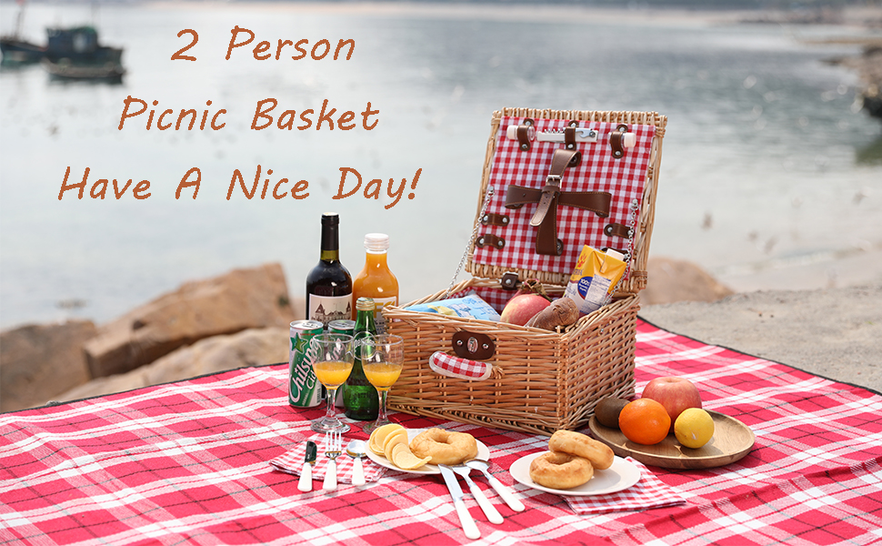 picnic basket set 2 people wicker willow insulated hamper wine large two gift