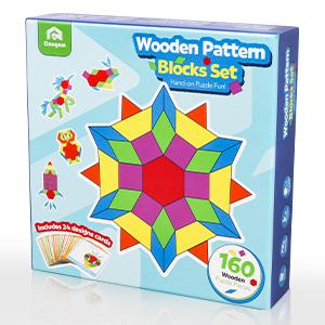 Wooden Pattern Blocks Set - Geometric Shape Puzzle Kindergarten Classic
