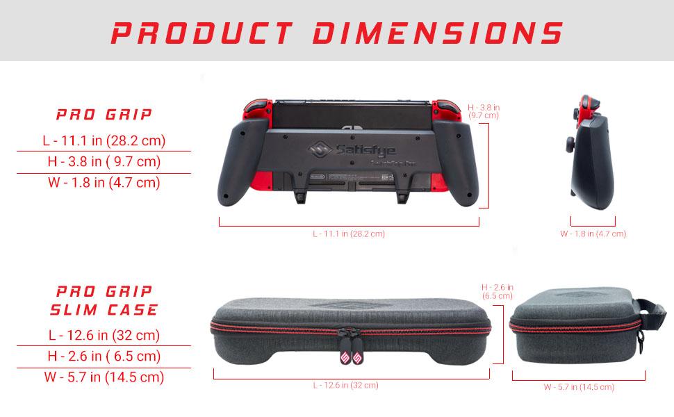 Product dimensions switchgrip pro, switchgrip pro slim case