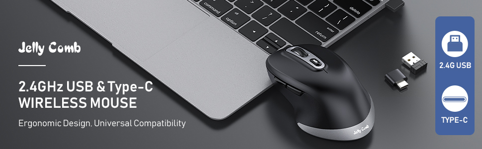ergonomic type c wireless mouse black and space gray a+ (1)