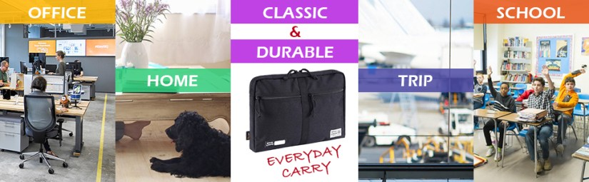 Practical laptop case edc pouch bag for college school office business travel home airplain trip