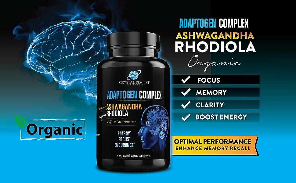 Organic Ashwagandha Rhodiola and Bioperin Focus Memory Clarity Energy