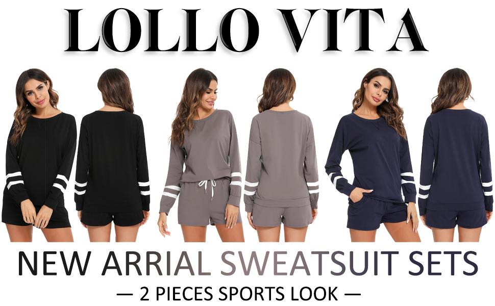 Lounge Sets for Women Long Sleeve Loungewear Workout Athletic Tracksuits Soft Pajamas Set Jogger Set