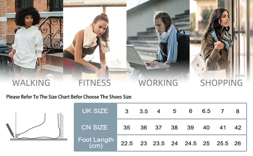 Memory Foam Sneakers for women size chart