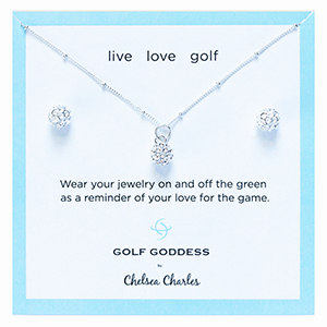 Golf Goddess Silver Golf Ball Necklace and Golf Ball Earrings Gift Set