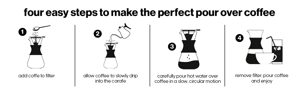 coffee maker pour cold brew cup glass dripper filter cone kettle stainless pot brewer kit pourover