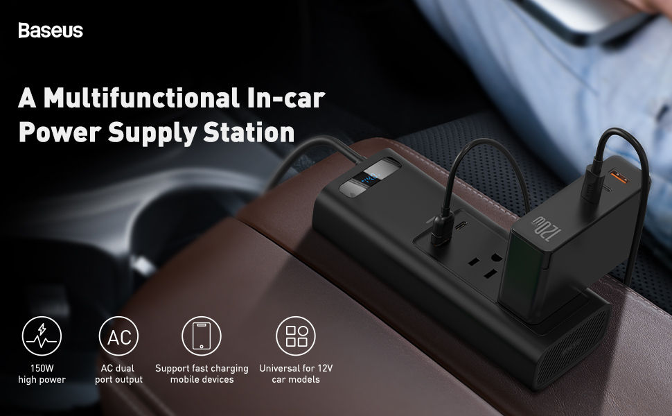 Baseus Car Inverter Switch and Current Outlet Adapter Power Inverters for Car