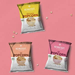 Popcorn, Heimatgut, süß, salzig, Zimt, Bio, Vegan