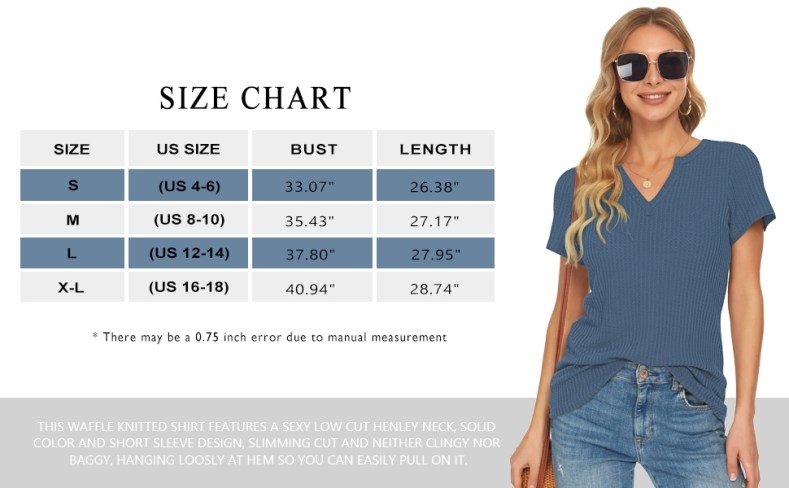 size chart for trendy tunic tops